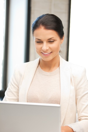 picture of happy woman with laptop computer Stock Photo - 9846978