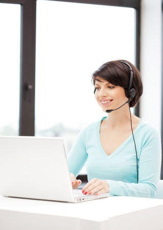 picture of helpline operator with laptop computer Stock Photo - 9846798