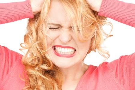 faccia disperata: brillante immagine di donna infelice over white Archivio Fotografico