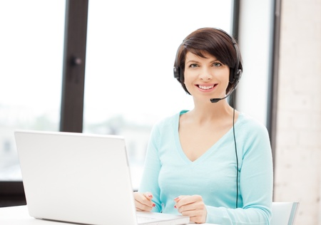 picture of helpline operator with laptop computer Stock Photo - 9905404