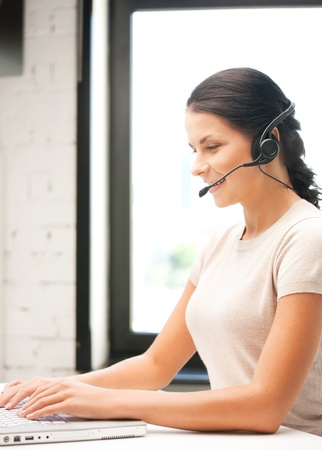 picture of helpline operator with laptop computer Stock Photo - 9905681
