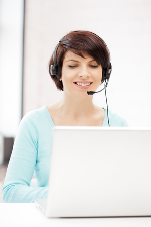 picture of helpline operator with laptop computer Stock Photo - 9905672