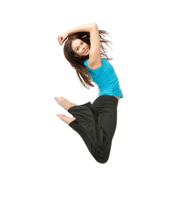 leap: bright picture of happy jumping sporty girl