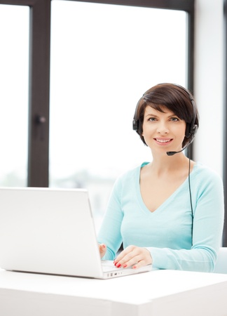 picture of helpline operator with laptop computer Stock Photo - 9905525