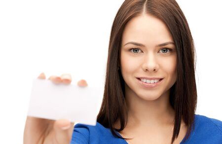 bright picture of confident woman with business card Stock Photo - 9905581