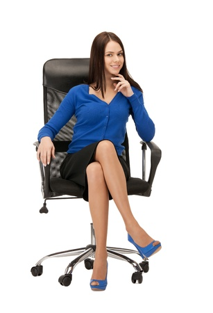 businesspersons: picture of young businesswoman sitting in chair