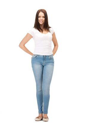 jeans woman: bright picture of happy and carefree teenage girl Stock Photo