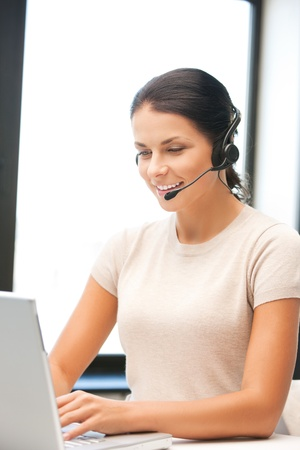 picture of helpline operator with laptop computer Stock Photo - 9948649