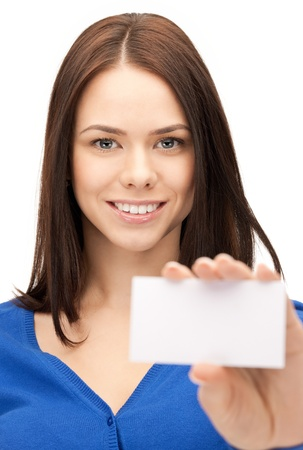 bright picture of confident woman with business card Stock Photo - 9948670