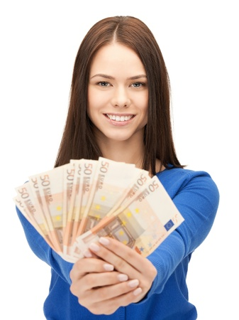 euro notes: picture of lovely woman with euro cash money