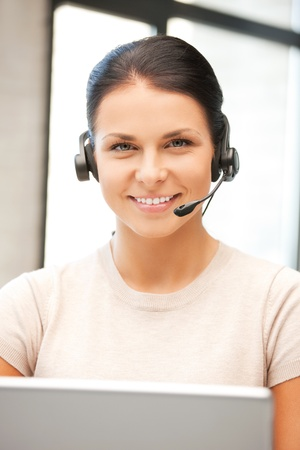 picture of helpline operator with laptop computer Stock Photo - 9948660