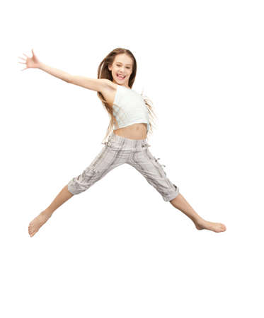 bright picture of happy jumping teenage girl Stock Photo - 9948672