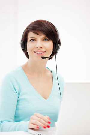picture of helpline operator with laptop computer Stock Photo - 9948680