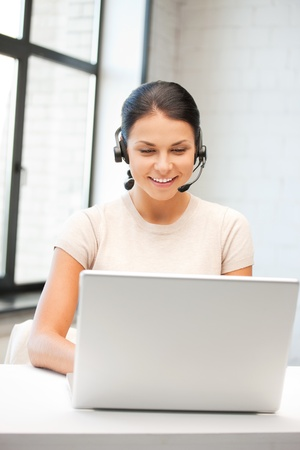 picture of helpline operator with laptop computer Stock Photo - 9965446
