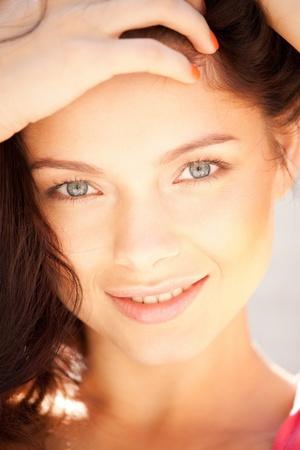 bright closeup portrait picture of beautiful woman Stock Photo - 9996525