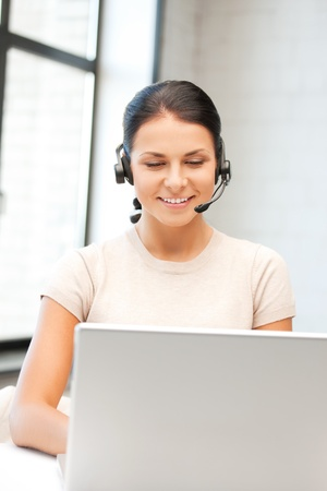 picture of helpline operator with laptop computer Stock Photo - 9996548