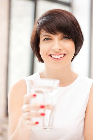 picture of beautiful woman with glass of water Stock Photo - 9996546