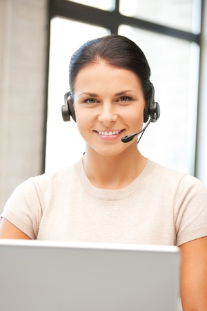 picture of helpline operator with laptop computer Stock Photo - 9996533