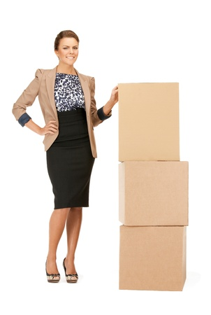 cardboard boxes: picture of attractive businesswoman with big boxes Stock Photo
