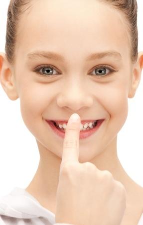 olfaction: bright closeup portrait picture of beautiful teenage girl Stock Photo