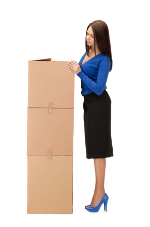 picture of attractive businesswoman with big boxes Stock Photo - 10061053