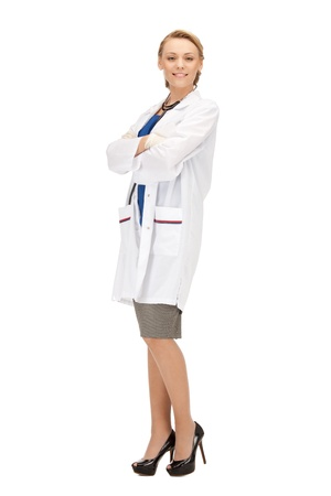 doctors tools: picture of attractive female doctor with stethoscope Stock Photo