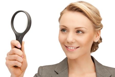 picture of beautiful woman with magnifying glass Stock Photo - 10177437