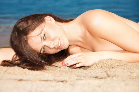 picture of beautiful sexy woman on the beach photo