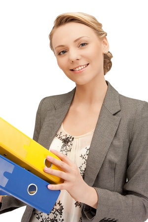 one of a kind: bright picture of beautiful woman with folders Stock Photo