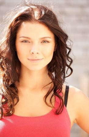 bright closeup portrait picture of beautiful woman Stock Photo - 10359304