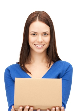 picture of attractive businesswoman with cardboard box