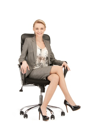 picture of young businesswoman sitting in chair Stock Photo - 10406910