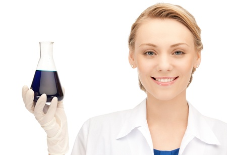 picture of beautiful lab worker holding up test tube Stock Photo - 10406909