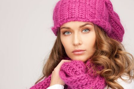 winter woman: picture of beautiful woman in winter hat