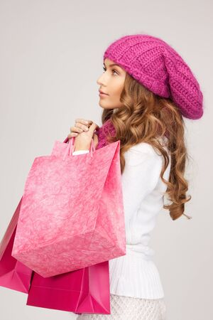picture of lovely woman with shopping bags Stock Photo - 10465351