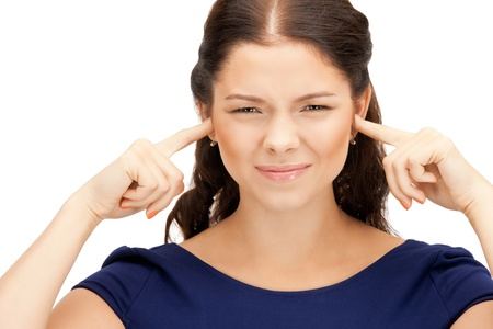 picture of woman with fingers in ears Stock Photo - 10465458
