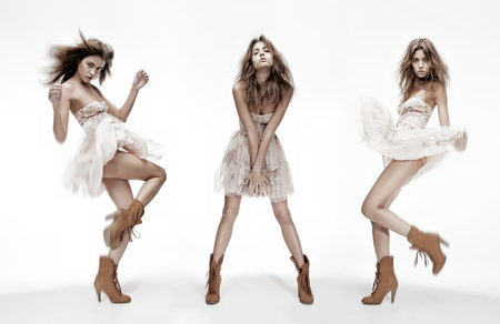 fashion: triple image of the same fashion model in different poses