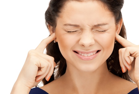 picture of woman with fingers in ears Stock Photo - 10465424
