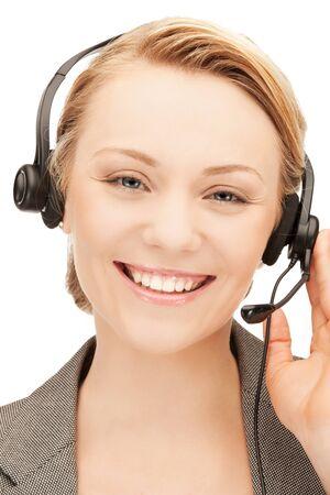 telephone operator: bright picture of friendly female helpline operator