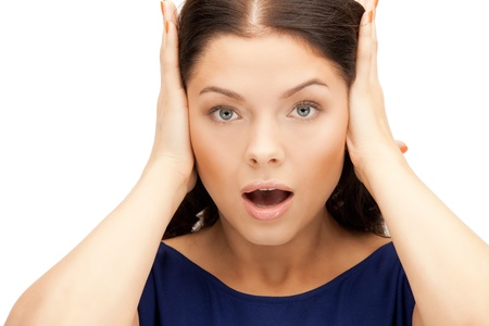 picture of woman with hands on ears Stock Photo - 10498442
