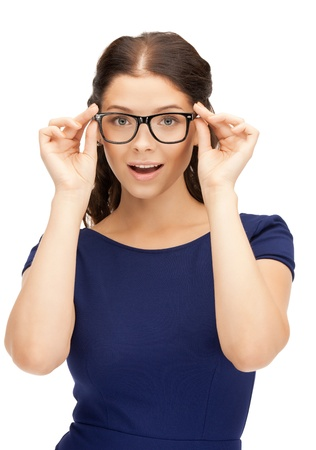 nerd glasses: closeup picture of lovely woman in spectacles