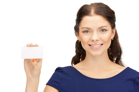 bright picture of confident woman with business card Stock Photo - 10597106