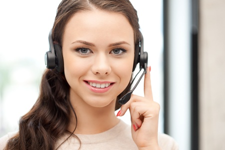 operators: bright picture of friendly female helpline operator