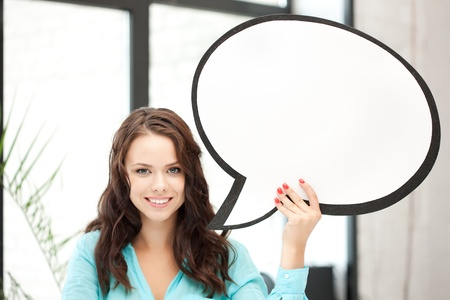 bright picture of smiling woman with blank text bubble Stock Photo - 10597167