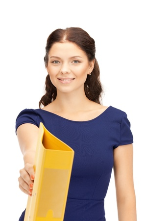 bright picture of beautiful woman with folders Stock Photo - 10624209