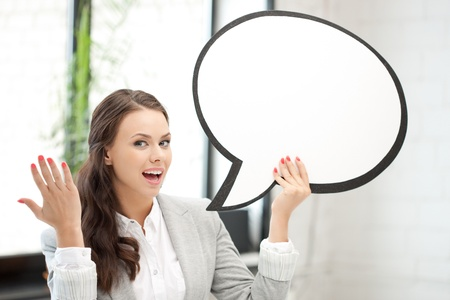 bright picture of smiling businesswoman with blank text bubble Stock Photo - 10624443