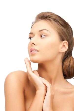 perfect skin: bright closeup portrait picture of beautiful woman