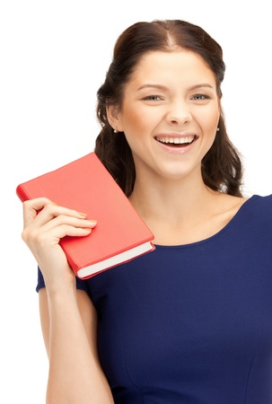bright picture of happy and smiling woman with book photo