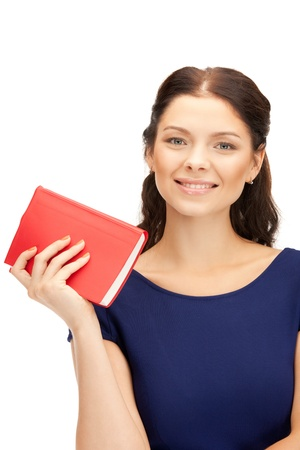 picture book: bright picture of happy and smiling woman with book