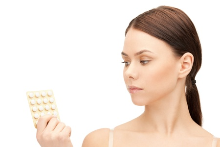 packs of pills: picture of young beautiful woman with pills